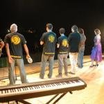 Il gruppo di cabarettisti italiani le lumache durante uno spettacolo di piazza